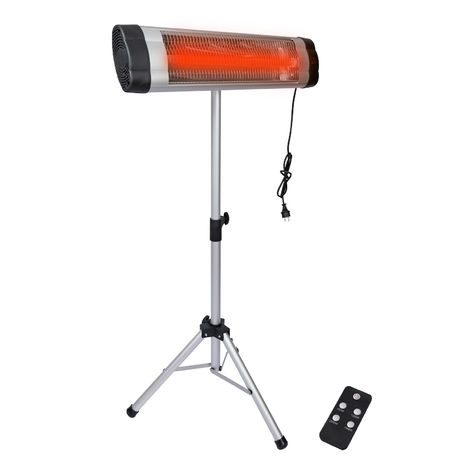 Infrared Heater 2000W with Quartz Heating Unit, Sturdy Tripod and Remote Control