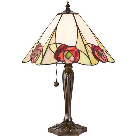 Ingram Medium Bedside Table Lamp 60W Tiffany Style Stained Glass Shade