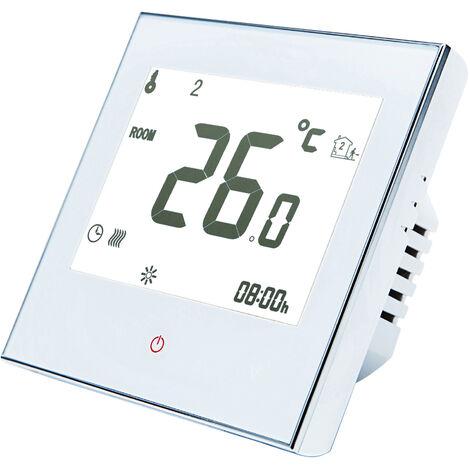 Inicio termostato programable con WiFi para caldera de agua / gas inteligente con pantalla tactil de solo calor de termostato con la aplicacion y control de la voz de 95-240V reemplazo para Amazon Eco Google Inicio Tmall Genie, blanca, con WiFi