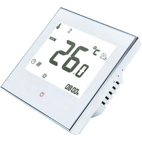 Inicio termostato programable con WiFi para caldera de agua / gas inteligente con pantalla tactil de solo calor de termostato con la aplicacion y control de la voz de 95-240V reemplazo para Amazon Eco Google Inicio Tmall Genie, Blanco, sin WiFi