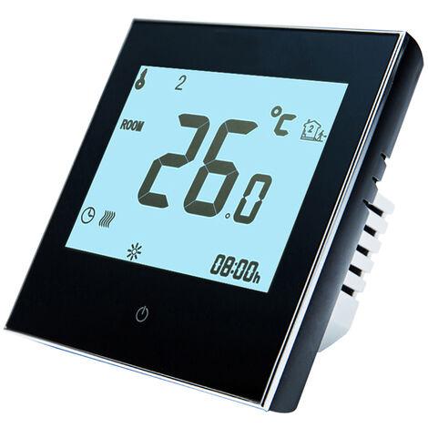 Inicio termostato programable con WiFi para caldera de agua / gas inteligente con pantalla tactil de solo calor de termostato con la aplicacion y control de la voz de 95-240V reemplazo para Amazon Eco Google Inicio Tmall Genie, Negro, sin WiFi
