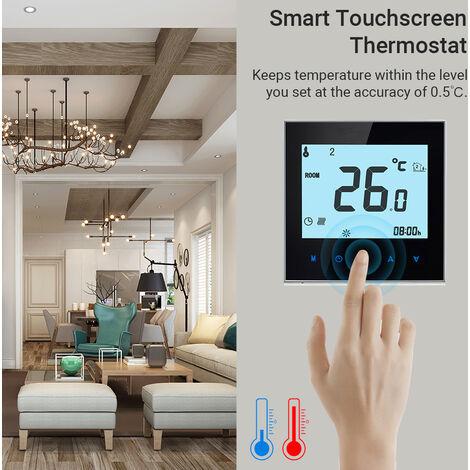 Inicio termostato programable con WiFi para la calefaccion por agua Sistema inteligente de pantalla tactil de solo calor de termostato con la aplicacion y control de voz para el sistema de recirculacion de agua caliente 95-240V de repuesto para Amazon Eco