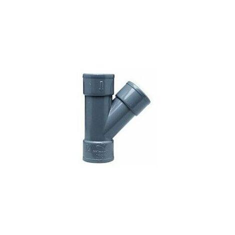 Injerto de PVC gris de 50mm y 45º Hembra Hembra de Crearplast