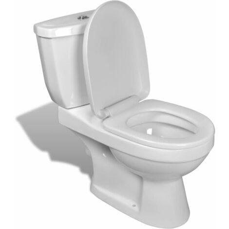 Inodoro blanco con cisterna