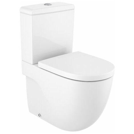 Inodoro completo Meridian compacto adosado a pared con salida dual (incluye taza Rimless, cisterna de alimentación inferior