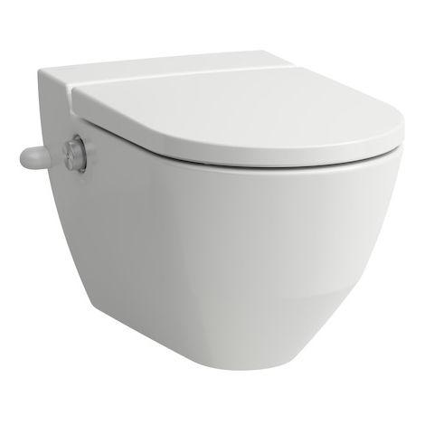 Inodoro de ducha Navia Cleanet, lavable, de 4,5/3 litros, montado en la pared, sin descarga, 37x58 cm, con abertura lateral para conexión de agua externa 19,5 cm, color: Blanco con LCC - H8206014007171