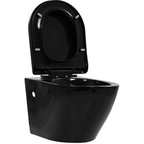 Inodoro de pared sin bordes de cerámica negro