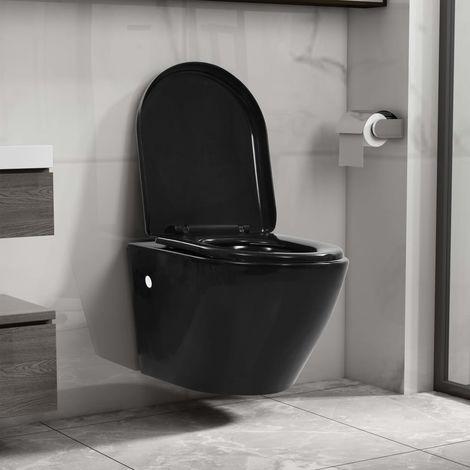 Inodoro de pared sin bordes de ceramica negro