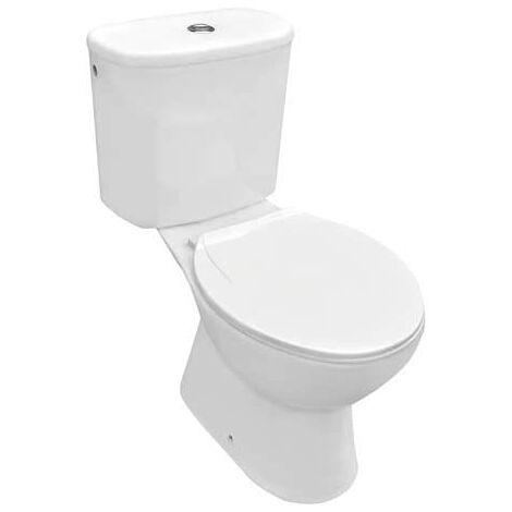 Inodoro MANDULIS completo con desagüe vertical con cisterna, tapa amortiguada y asiento de duroplast redondo muy económico.