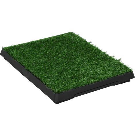 Inodoro mascotas con bandeja césped artificial verde 63x50x7 cm