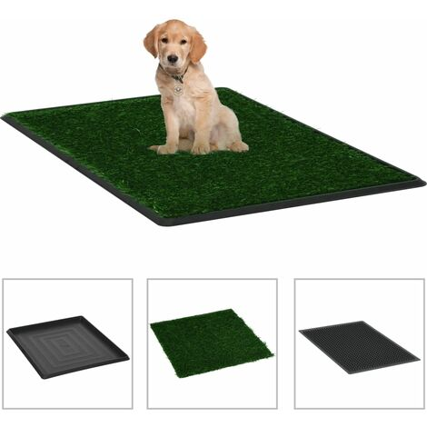 Inodoro mascotas con bandeja césped artificial verde 64x51x3 cm