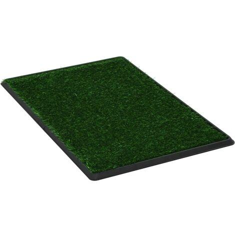 Inodoro mascotas con bandeja césped artificial verde 76x51x3 cm