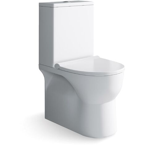 Inodoro Pack WC  Compacto Blanco con Sistema Rimless, Diseño Moderno Tapa con caida amortiguada, Salida Dual Eficiente