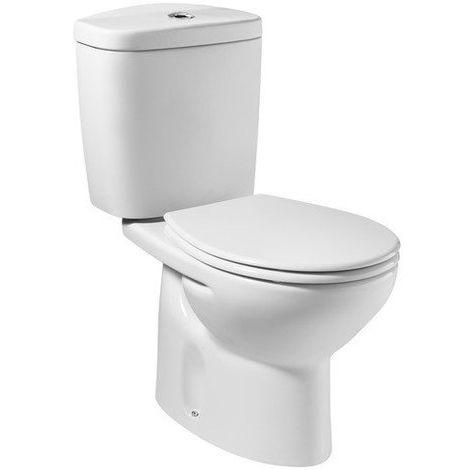 INODORO ROCA VICTORIA COMPLETO: Taza con salida horizontal + Tanque/cisterna y descarga doble incluida Tapa asiento de SUPRALIT ® color blanco