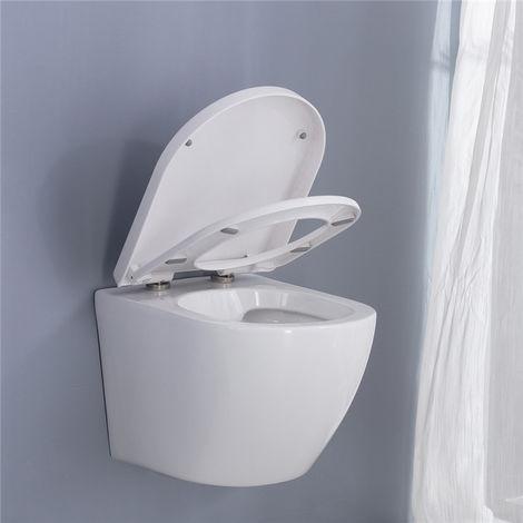 Inodoro suspendido con tapa de inodoro de cerámica blanca montada en la pared