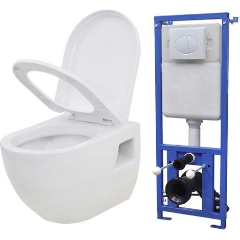 Inodoro suspendido de pared con cisterna oculta cerámica blanco