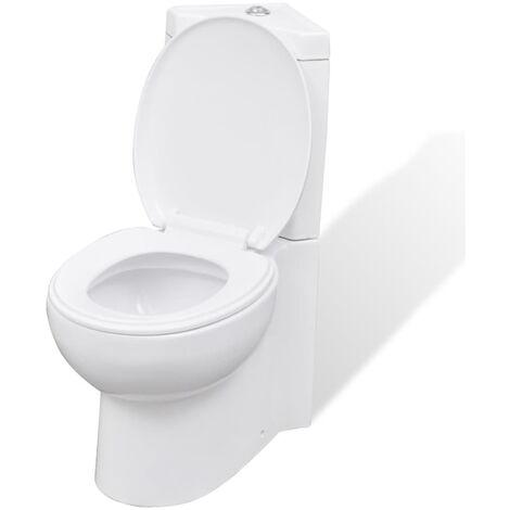 Inodoro WC de cerámica de esquina blanco