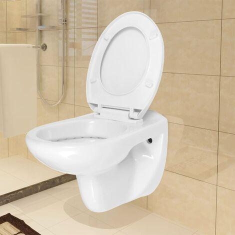 Inodoro WC de montaje en pared con cierre suave cerámica blanco