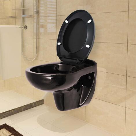 Inodoro WC montaje en pared cierre suave ceramica marron oscuro