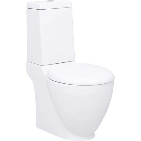 Inodoro WC redondo de cerámica flujo hacia abajo blanco