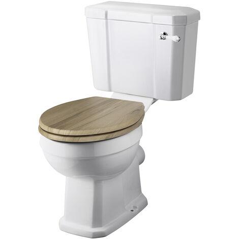 Inodoro WC Tradicional de Pie con Salida Horizontal y Tapa de Madera estilo Retro