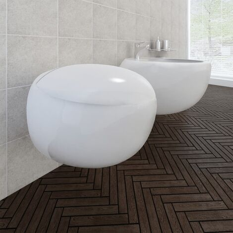 Inodoro y bidé de pared de cerámica blanca