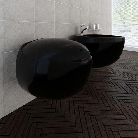 Inodoro y bidé de pared de cerámica negra