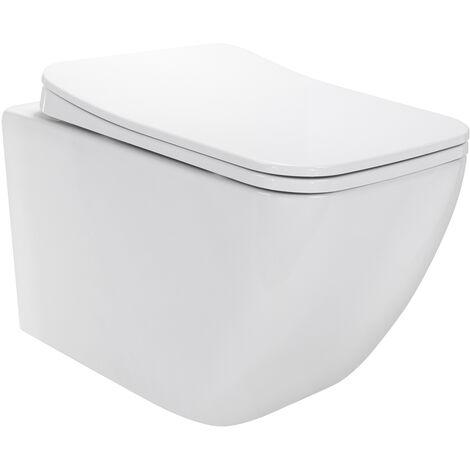 Inodoros Cube suspendidos de cerámica sin borda, Función Soft-Close, Color blanco - Cisterna no incluida
