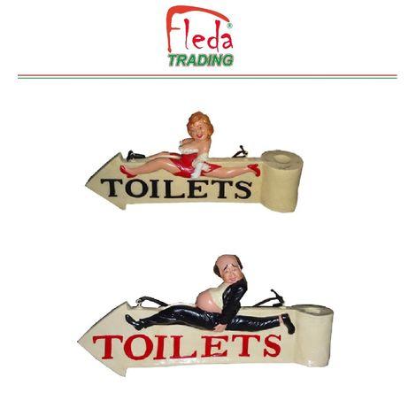 Inodoros de puerta exterior WC Indicadores 2 Señales de inodoro de resina con figuras decorativas