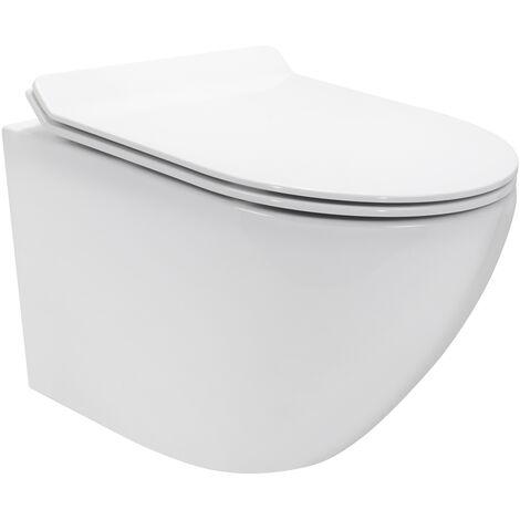 Inodoros Franco suspendidos de cerámica sin borda, Función Soft-Close, Color blanco - Cisterna no incluida