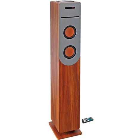 INOVALLEY HP34-CD-WOOD Tour de son Lecteur CD - Bluetooth - 100 W - USB - Bois et gris