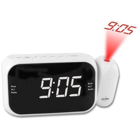 INOVALLEY RP211W Radio réveil projecteur Led blanche Radio FM PLLdouble alarme Blanc