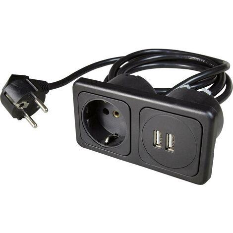 Inprojal elektrosysteme 9016-104.81 1fach Einbau-Steckdose mit USB IP20 Schwarz X386231