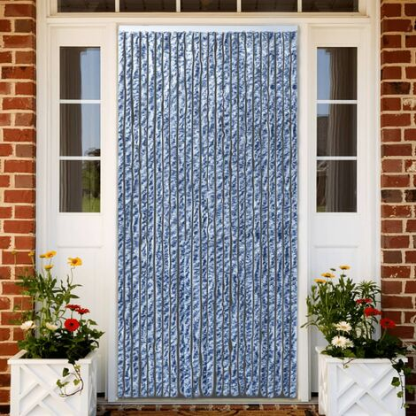 Insect Curtain Blue, White and Silver 90x220 cm Chenille
