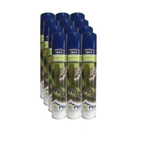 Insecticida PBA Insectos Voladores en Interior y Exterior - Caja Completa 12 x Spray 750 ml
