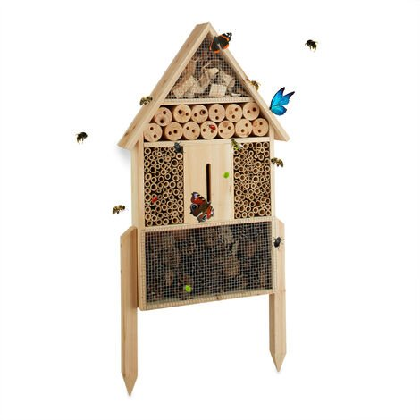 Insektenhotel L stehend, Nisthilfe für Bienen, Florfliegen, Marienkäfer, Holz HxBxT: 60,5 x 37 x 9 cm, natur