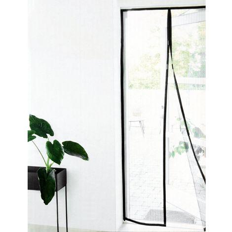 Insektennetz für Türen 100x210cm Schwarz, Fliegengitter Insektenschutz Moskitonetz mit Magnetverschluss und Klettband selbstklebend