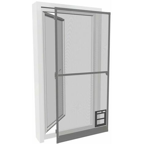 Insektenschutz-Tür PRO mit Katzenklappe - 100x210 cm, anthrazit