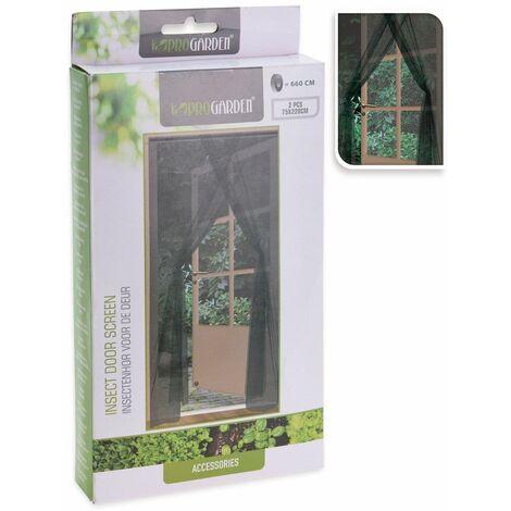 Insektenschutzvorhang für die Tür, 2-teilig, 75x220 cm, schwarz