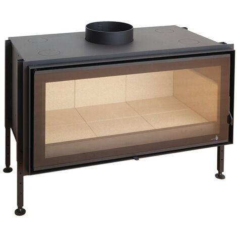 Insert à bois noir modèle C-1000 + Kit de ventilation + Régulateur de vitesse + Cadre 4 côtés verre cristal noir