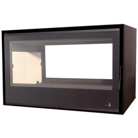 Insert à bois double face C290DF + Cadre QUADRO 4 Côtés 40mm Verre Noir