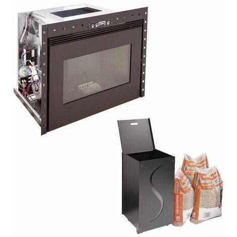 Insert à granules BENITO 10KW - Noir option Pellet'Box réserve à granulés design de 45 kg