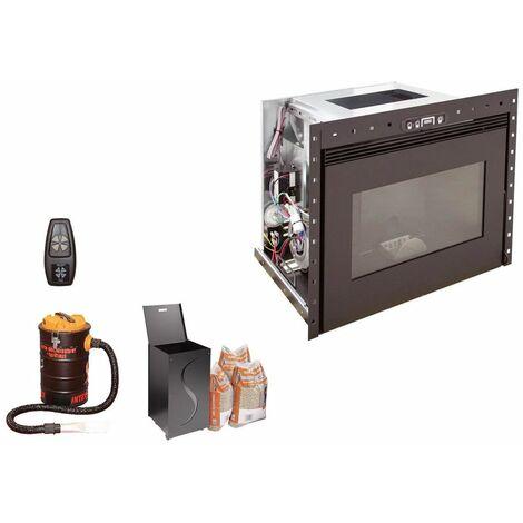 Insert à granules BENITO 10KW - Noir option télécommande, aspirateur 20 litres 1000W, Pellet'Box