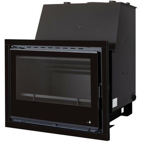 Insert chaudière à bois gris acier modèle C-690H + Cadre QUADRO complet 40MM verre cristal noir