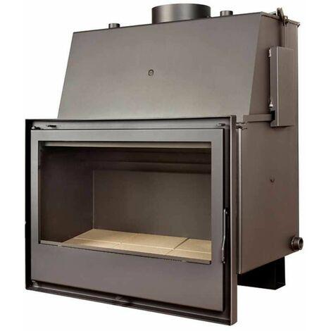 Insert chaudière à bois gris acier modèle C590H + Cadre QUADRO complet 40MM