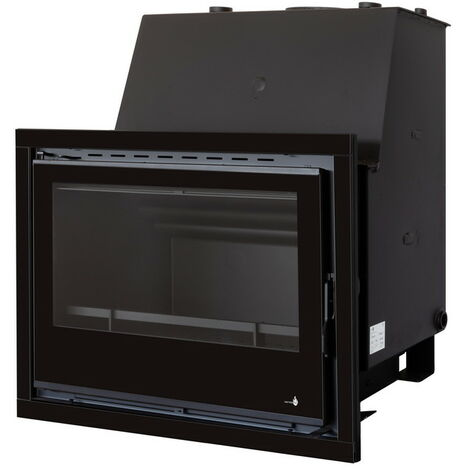 Insert chaudière à bois gris acier modèle C670H + Cadre QUADRO complet 40MM verre cristal noir