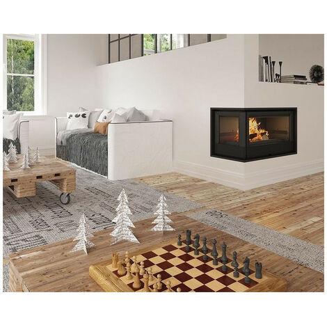 Insert cheminée à bois Holguin avec turbine 11,5 kW 2 vitres gauche - Prise d'air exterieur: avec