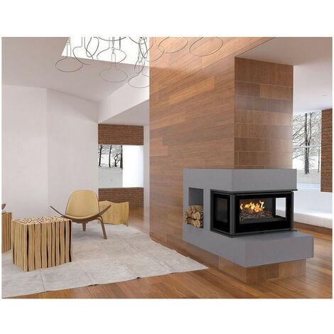 Insert cheminée à bois Holguin avec turbine 12 kW 3 côtés vitrées - Prise d'air exterieur: sans