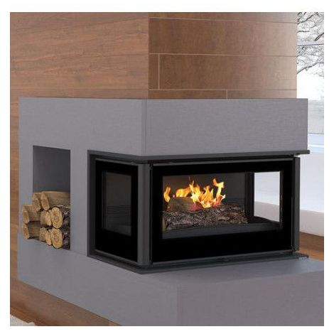 Insert cheminée à bois Holguin avec turbine 16 kW 3 côtés vitrées - Prise d'air exterieur: sans