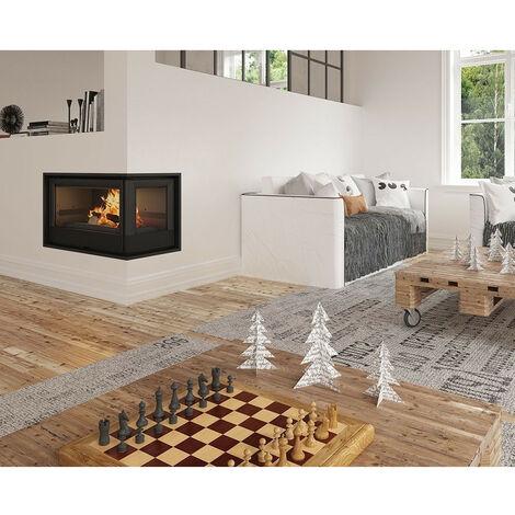 Insert cheminée à bois Holguin avec turbine 17,5 kW 2 vitres droite - Prise d'air exterieur: sans